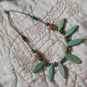 none Jewelry - Light Brown and Light Turquoise Stone Necklace